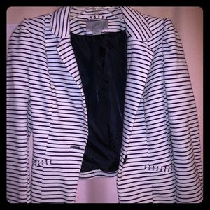 White and navy striped blazer